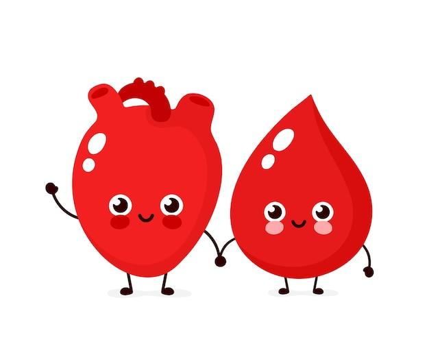 Mignon heureux sourire goutte de sang et caractère d'amis d'organe cardiaque. conception d'icône d'illustration de dessin animé de style plat moderne vecteur. isolé. concept de personnage de goutte de sang