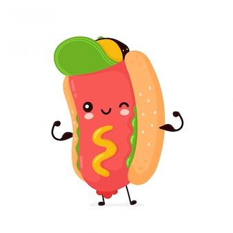 Mignon heureux sourire hot dog show muscle. personnage de dessin animé.