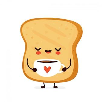 Mignon heureux toast drôle boire du café. conception d'icône illustration de personnage de dessin animé isolé sur fond blanc