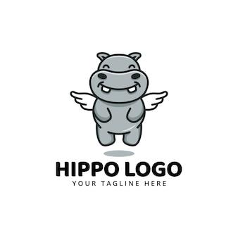 Mignon hippopotame hippopotame mascotte dessin animé logo