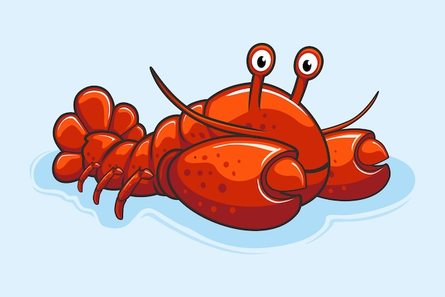 Mignon homard dessin animé crevettes fruits de mer