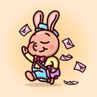 Mignon homme de poste de lapin mâle marche avec un visage heureux et trouant une lettre d'amour. illustration de la saint-valentin.