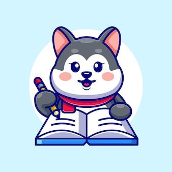 Mignon husky écrit sur livre avec dessin animé au crayon