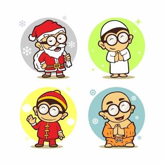 Mignon icône mascotte hommes salutation père noël, musulman, chinois, bouddhiste