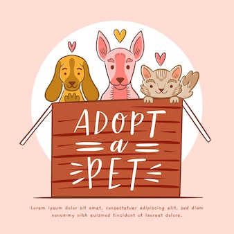 Mignon illustré adopter un concept pour animaux de compagnie