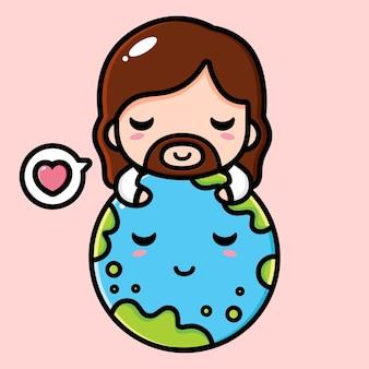 Mignon jésus christ étreignant la terre