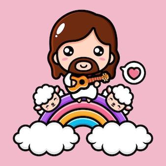 Mignon jésus christ jouant du ukulélé sur l'arc-en-ciel avec le mouton