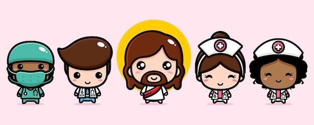 Mignon jésus christ avec des médecins et des infirmières