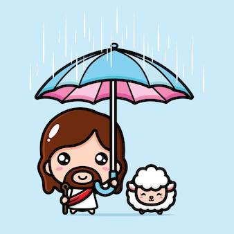 Mignon jésus christ parapluie le mouton de la pluie