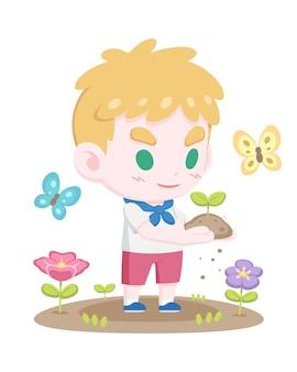 Mignon jeune garçon tenant illustration de dessin animé de pousse