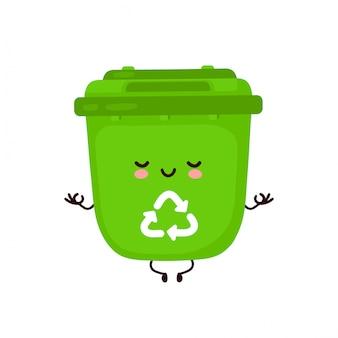 Mignon joyeux sourire poubelle méditer dans la pose de yoga. personnage de dessin animé.