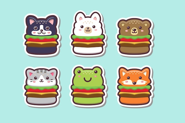Mignon kawaii animal burger dessin autocollant set illustration