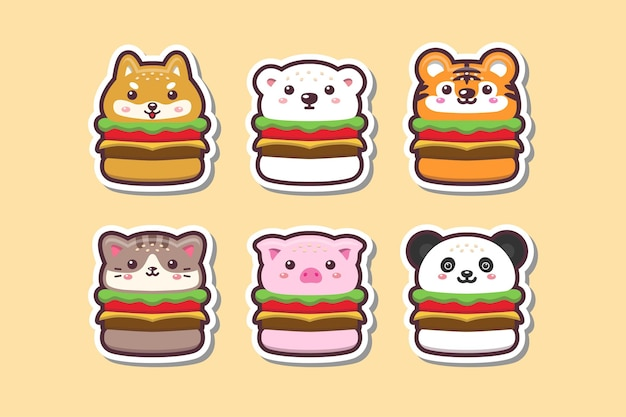 Mignon kawaii animal burger dessin autocollant set illustration