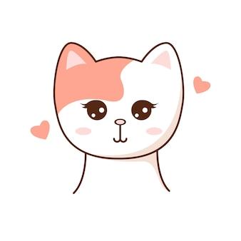 Mignon kawaii cat cahracter enfants style vector illustration autocollant élément de conception isolé pour