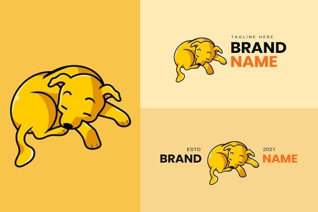 Mignon kawaii chiot chien mascotte dessin animé logo design modèle icône illustration dessinés à la main