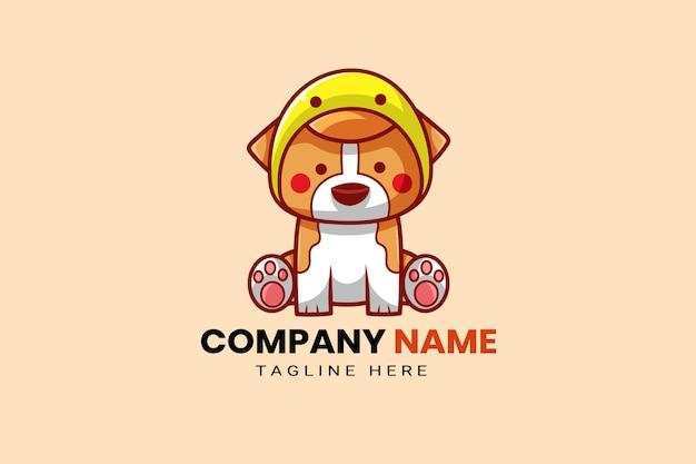 Mignon kawaii chiot corgi shiba inu chien mascotte dessin animé logo modèle icône illustration dessinés à la main