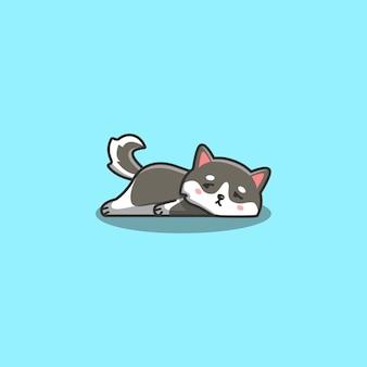 Mignon kawaii dessiné main doodle bored chien husky sibérien paresseux