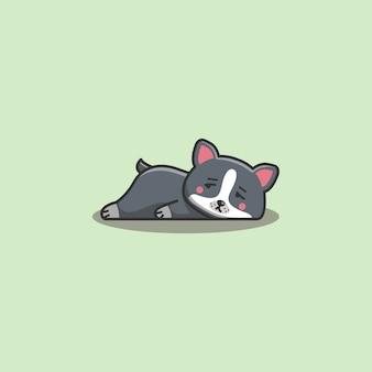 Mignon kawaii dessiné main doodle bored paresseux boston terrier chien