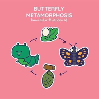 Mignon kawaii papillon métamorphose autocollant illustration set oeuf chenille chrysalide papillon