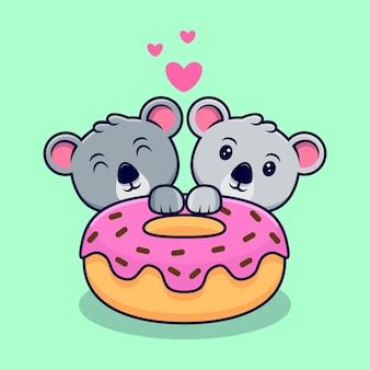 Mignon, koala, couple, amoureux, à, donut, mascotte, dessin animé