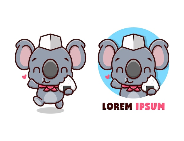 Mignon koala portant un chapeau de chef et un écharpe rouge mange onigiri. mascotte de cartoon.
