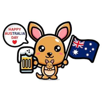 Mignon kongourou célébrant la joyeuse journée de l'australie