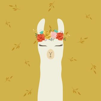 Mignon lama avec une belle couronne de fleurs