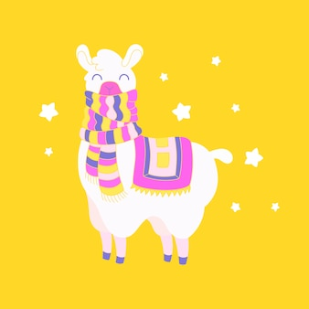 Mignon lama habillé. illustration de lama animal fantastique