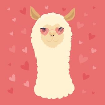 Mignon lama avec des lunettes en forme de coeur