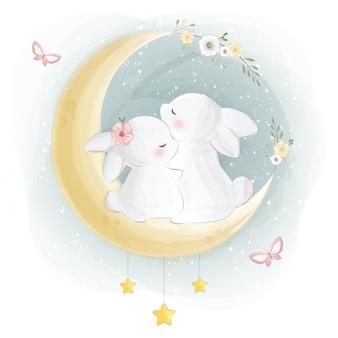 Mignon, lapin, couple, étreindre, lune