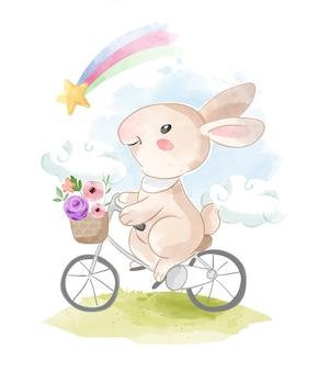 Mignon lapin équitation vélo et arc-en-ciel illustration