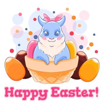 Mignon lapin de pâques dans le panier avec des bonbons et des œufs en chocolat. confettis. vacances de printemps