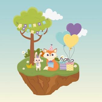 Mignon lapin et renard avec chapeaux cadeaux ballons animaux célébration happy day illustration