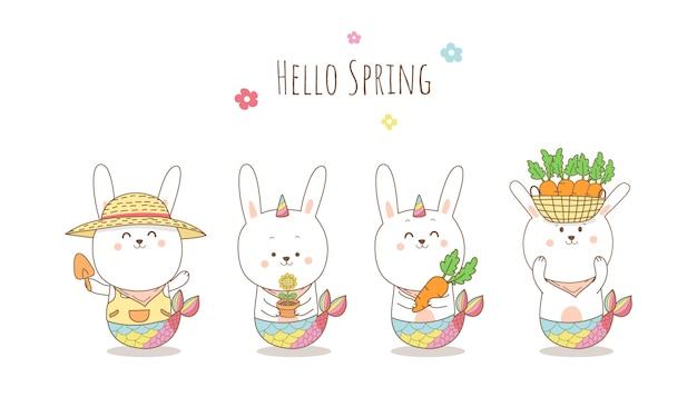 Mignon, lapin, sirène, licorne, bannière, dessin animé