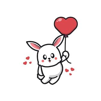 Mignon, lapin, tenue, amour, ballon, dessin animé, icône, illustration