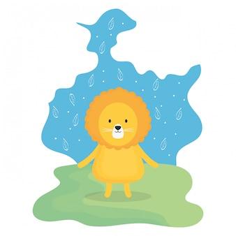 Mignon lion adorable personnage