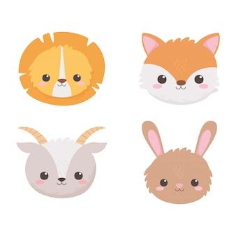 Mignon lion renard chèvre et lapin tête dessin animé animaux vector illustration