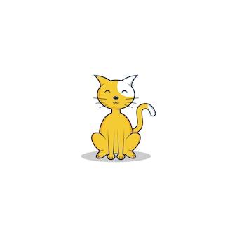 Mignon logo de chat orange