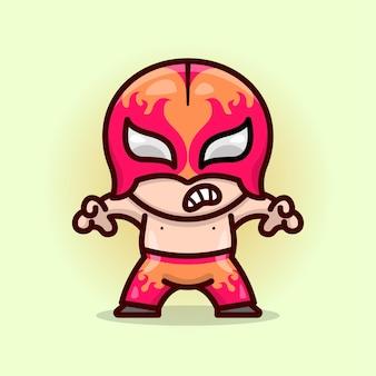 Mignon lutte masqué rouge en pantalon rouge prêt à combattre