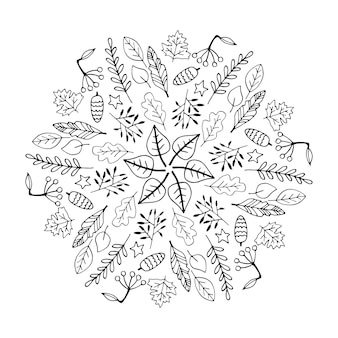 Mignon mandala d'automne doodle avec des citrouilles de paniers de champignons de feuilles sur fond blanc