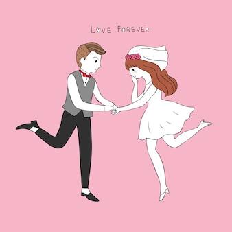 Mignon marié de bande dessinée porte le vecteur d'anneau de la jeune mariée.