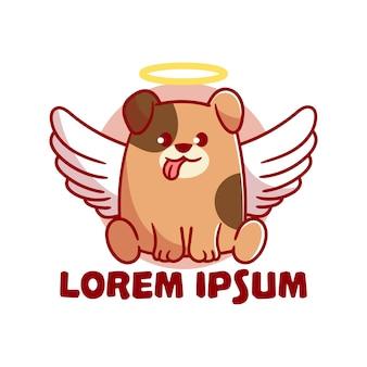 Mignon mascotte logo angel chien cartoon