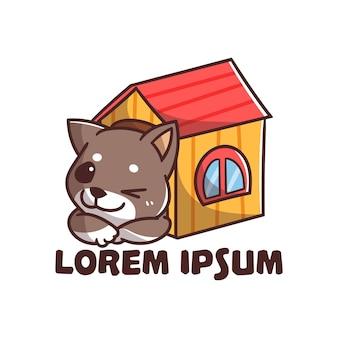 Mignon mascotte logo chien maison cartoon