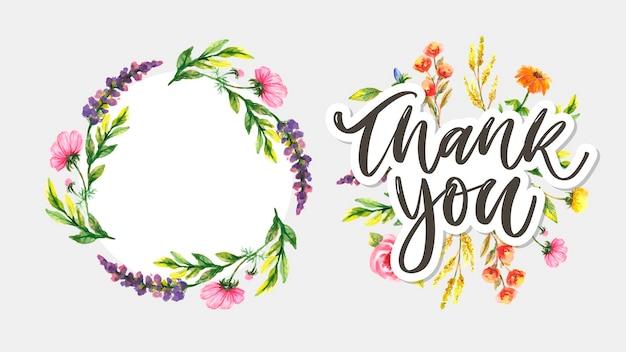 Mignon merci script carte fleurs lettre texte