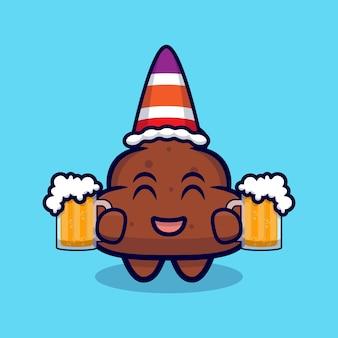 Mignon, merde, apporter, bière, dessin animé