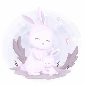 Mignon, mère bébé, lapin
