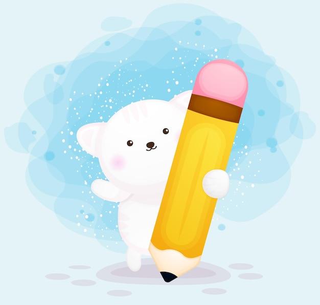 Mignon, minou, tenue, grand crayon, dessin animé