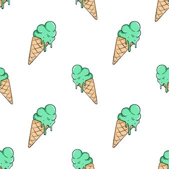 Mignon modèle sans couture de crème glacée avec style coloré dessiné à la main