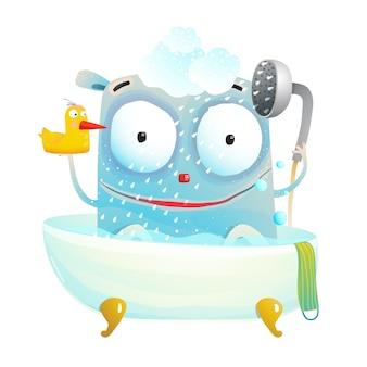Mignon monstre de bain avec canard