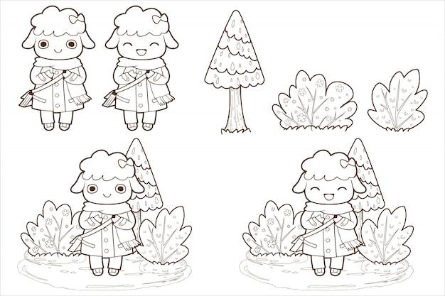 Mignon mouton doodle et vecteur d'arbre